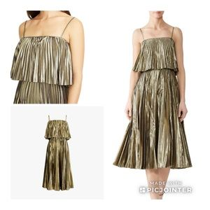 Gold Lame Pleated Midi Dress J Crew NWT sz 6